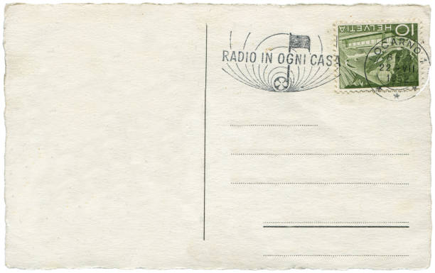 vintage postcard with blank content sent from Switzerland in 1952 stock photo