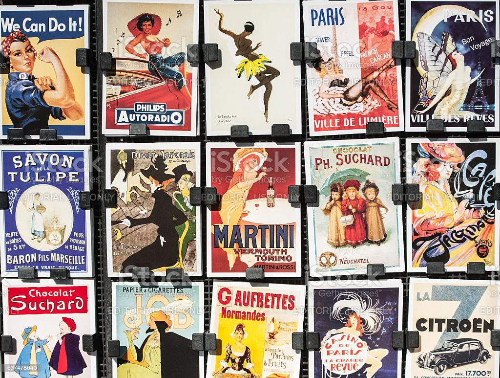 Vintage Posters and Advertisements for Sale at Traditional Bookstall, Paris bildbanksfoto