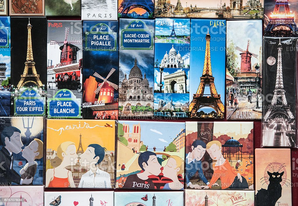 Vintage Posters and Advertisements for Sale at Traditional Bookstall, Paris stock photo