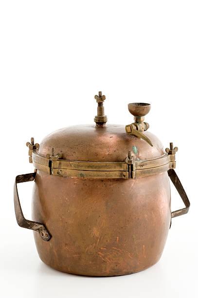 vintage pressure cooker stock photo