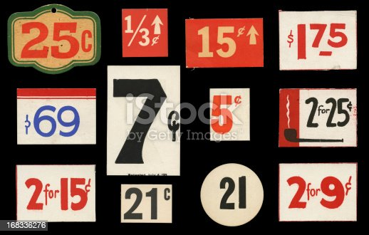 vintage price tags against a black background