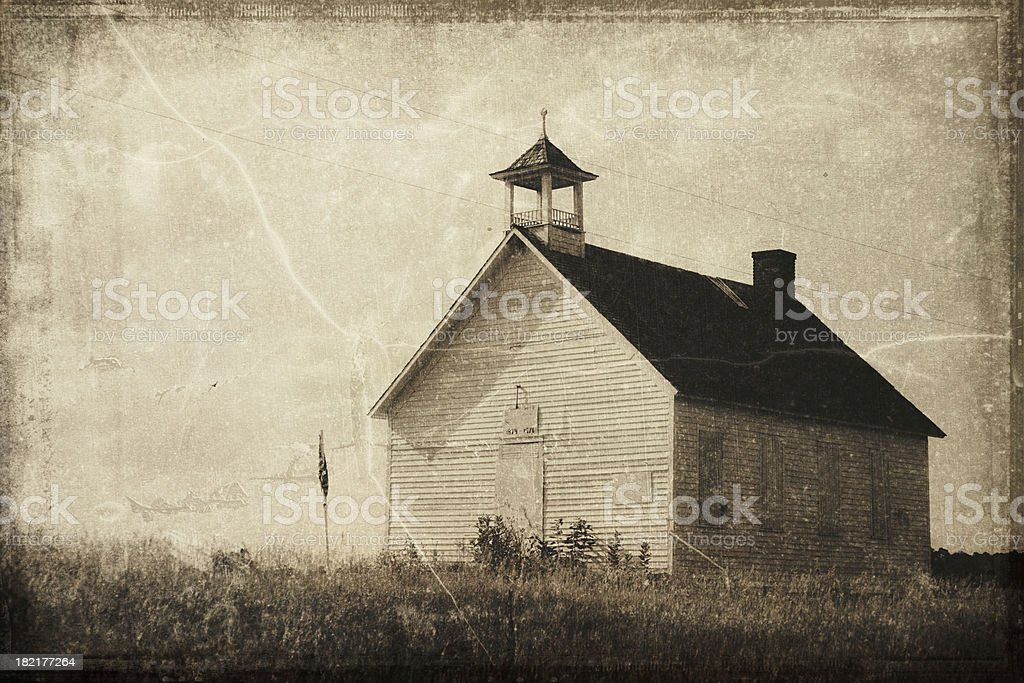 Vintage Processed One Room Schoolhouse stock photo