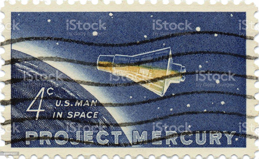Vintage Project Mercury US Postage Stamp stock photo