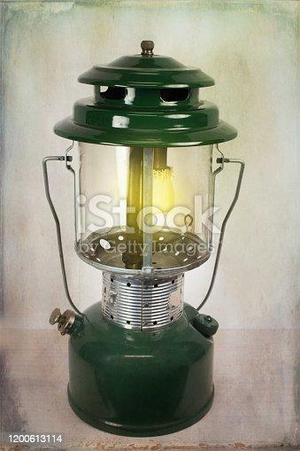 Vintage Propane Gas Lantern with Texture Background