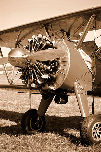Vintage propeller airplane from the 1930s stock photo