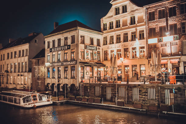 Vintage pubs and cafes in the city center of Ghent stock photo