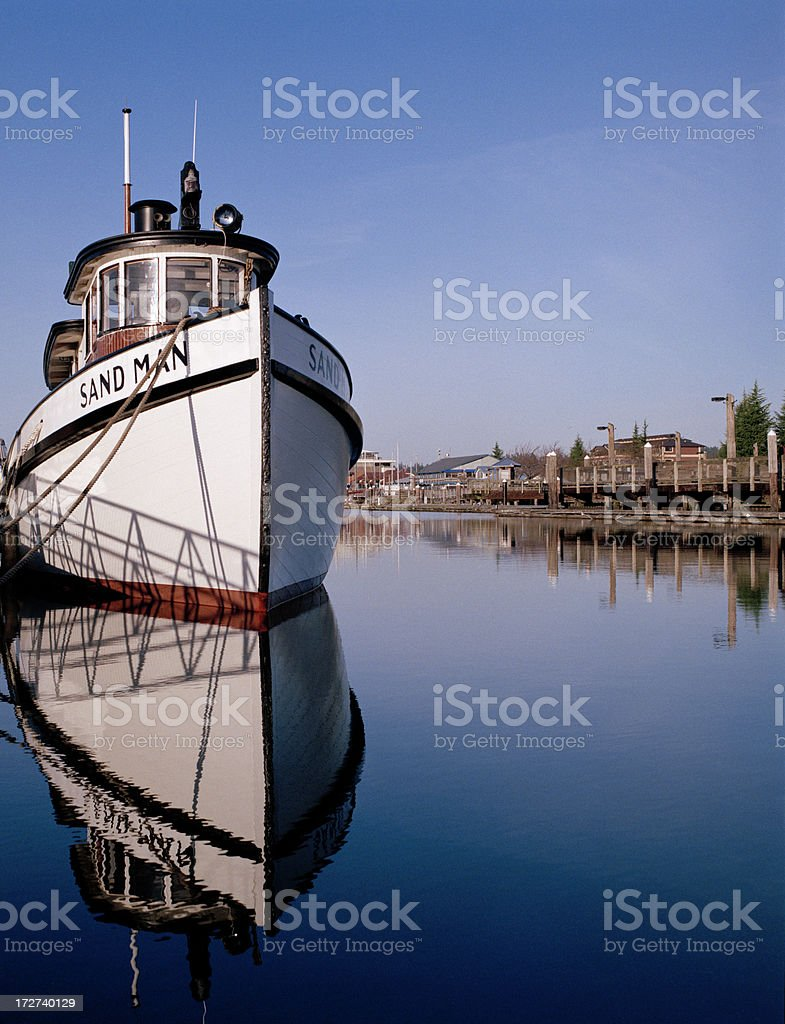 Vintage Puget Sound Tugboat Sand Man stock photo