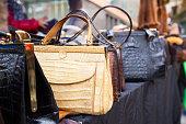 Vintage purses at a Flea market