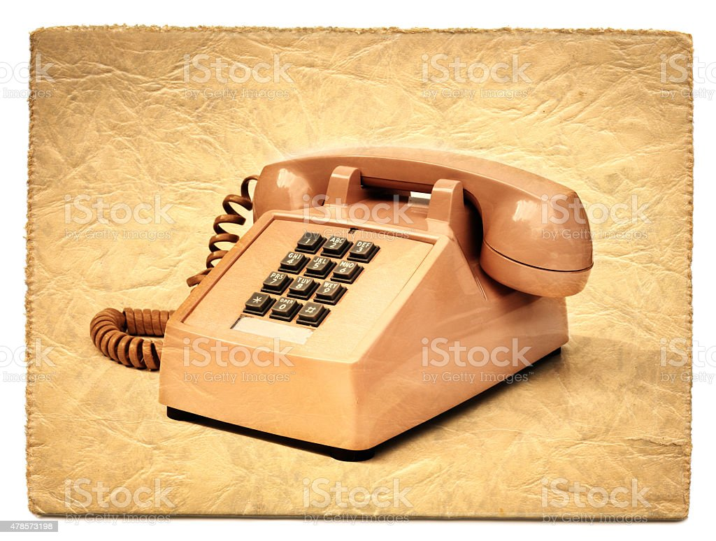 Vintage Push Button Phone On Old Postcard Stock Photo