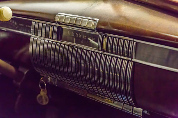 Vintage push button radio in old car stock photo