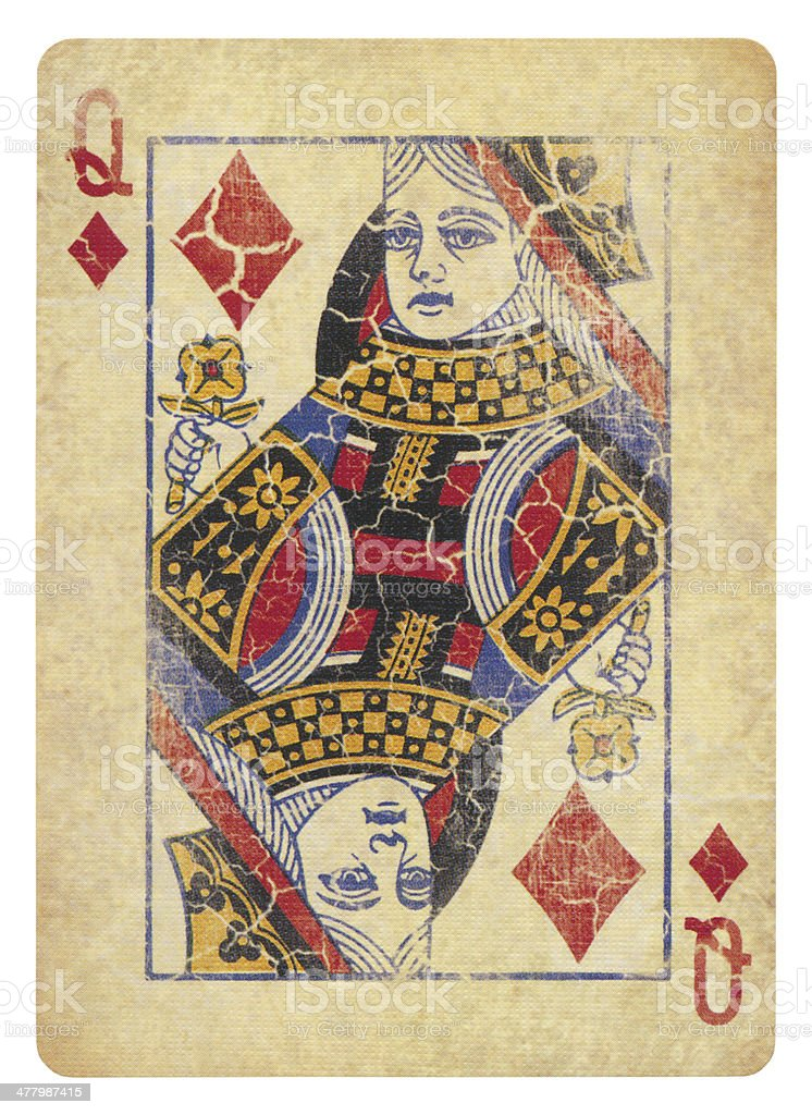 Vintage Queen Of Diamonds Isolated (clipping path included) stock photo