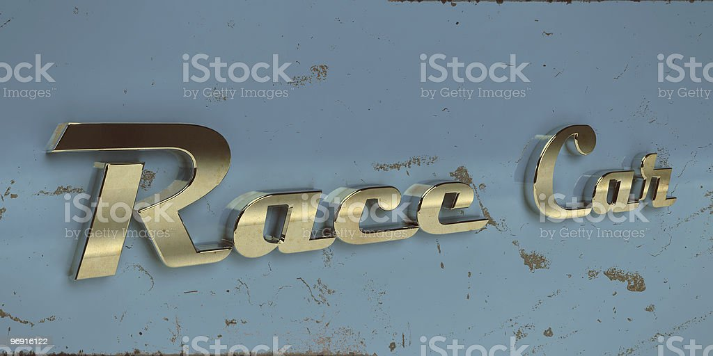 vintage race car chrome typography royalty-free stock photo