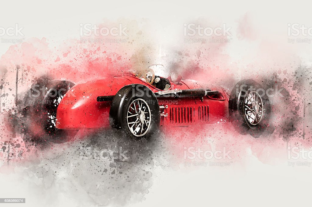 Vintage race car isolated on white background stock photo