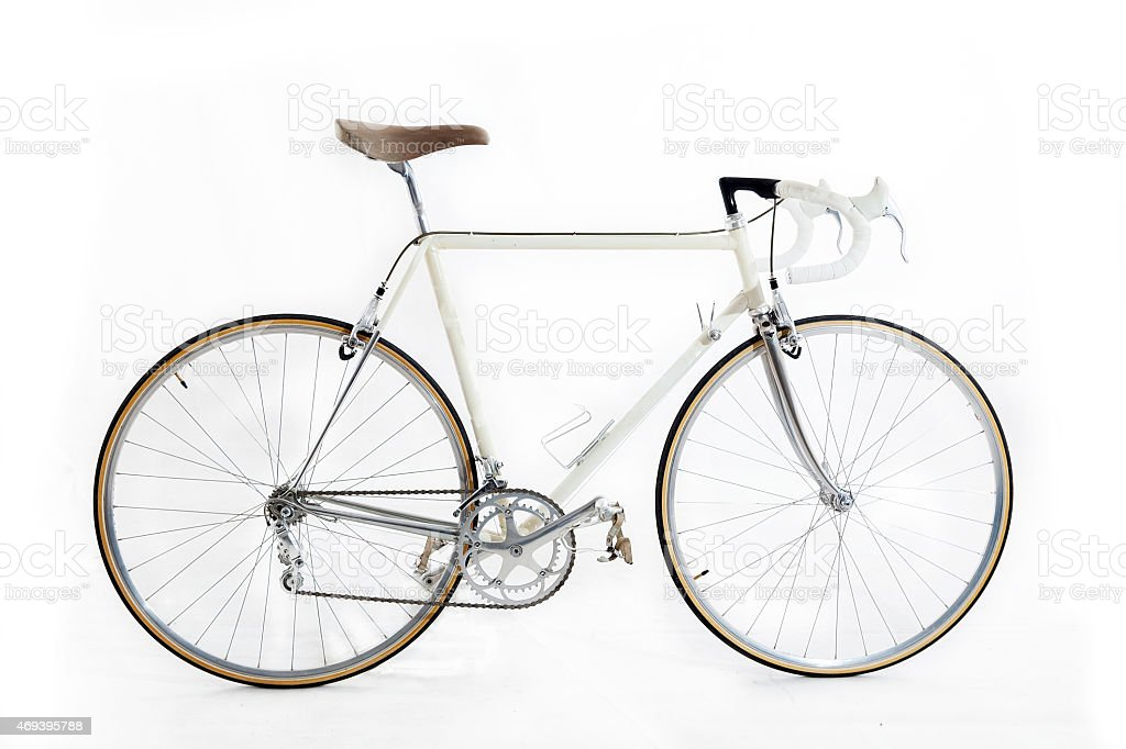 vintage racing bike isolated on a white background stock photo