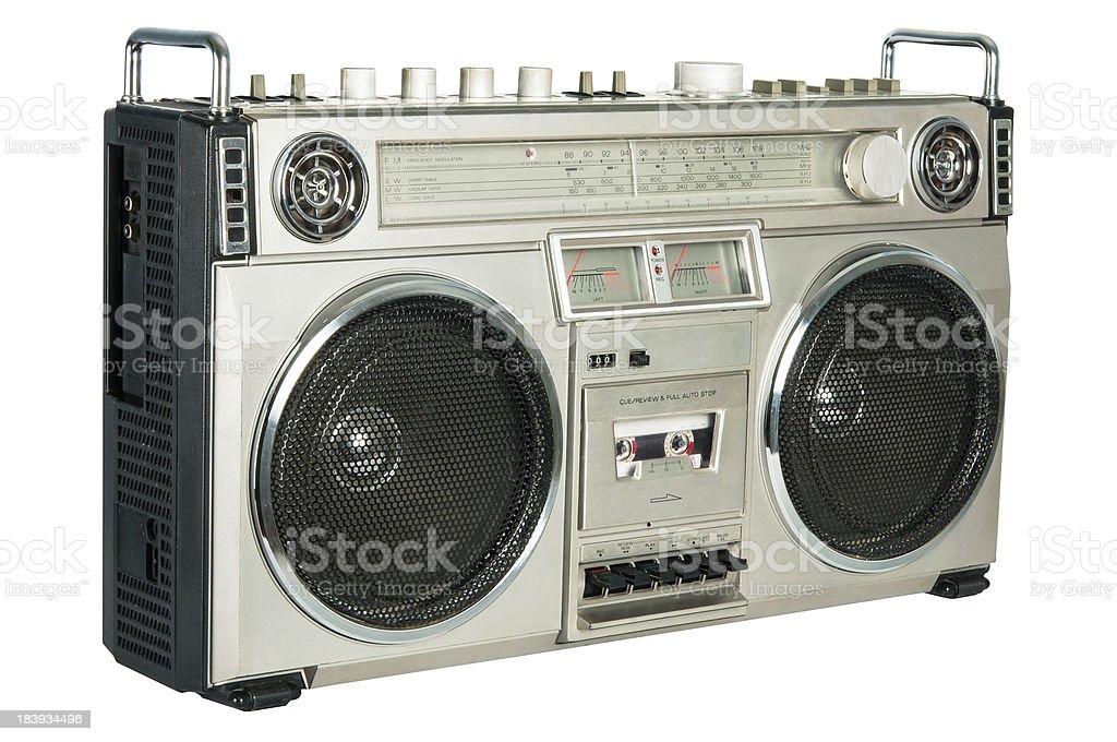 Vintage radio cassette recorder isolated on white stock photo