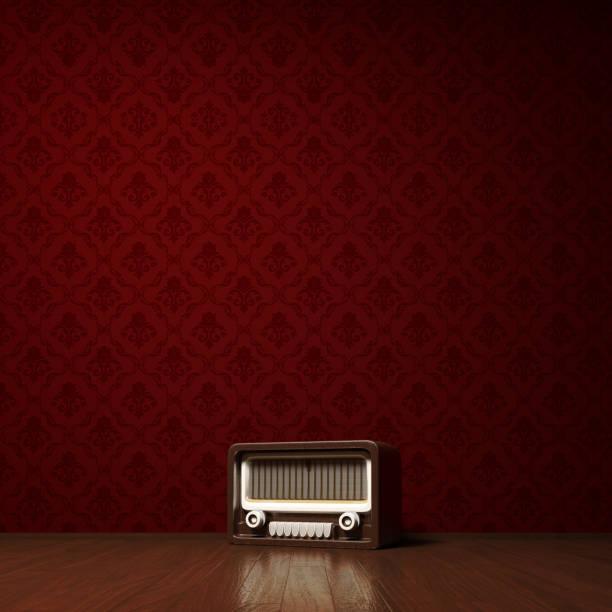 vintage radio konzept - damast wand stock-fotos und bilder