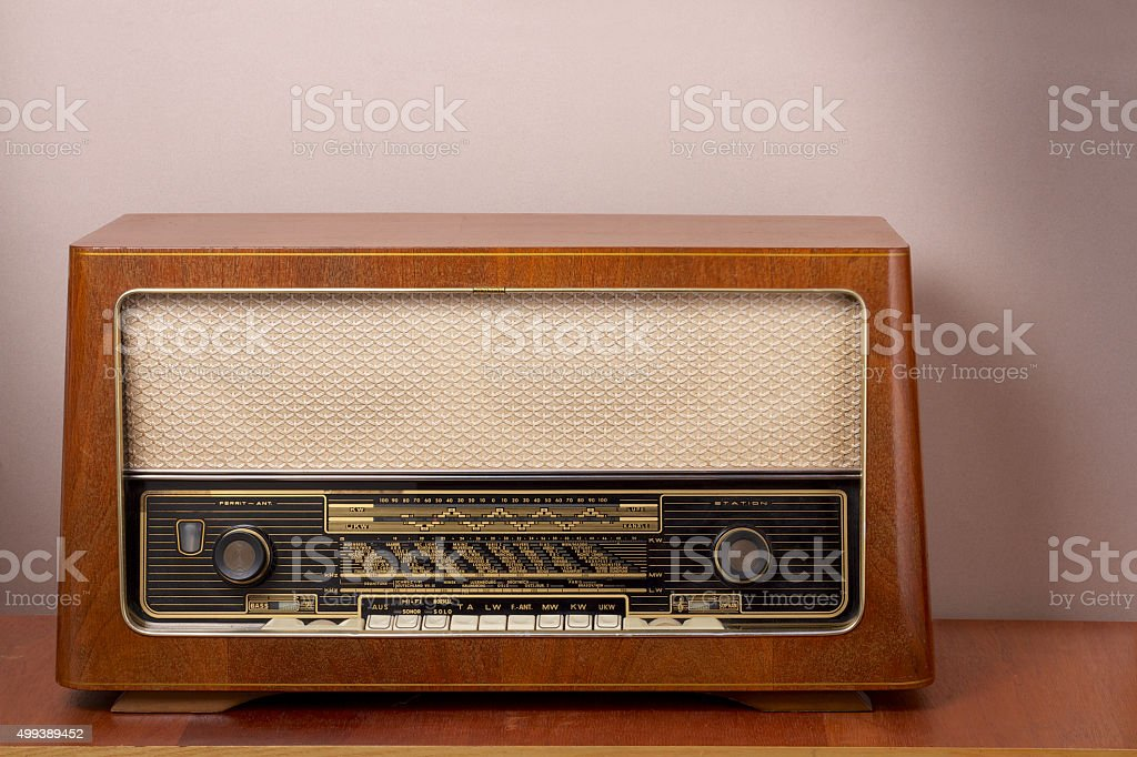 Vintage radio Fabric Background stock photo