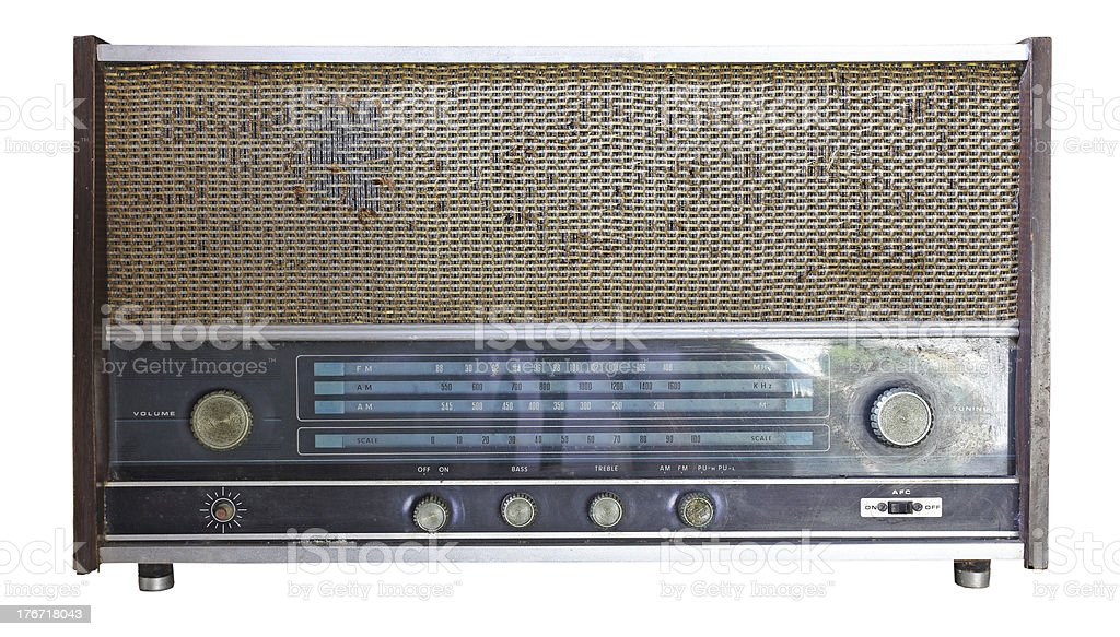Vintage radio isolated over white background, clipping path royalty-free stock photo