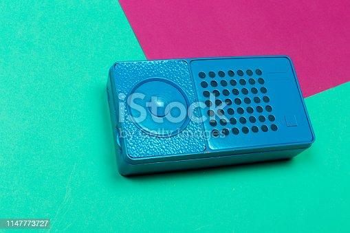istock Vintage radio on color background. 1147773727