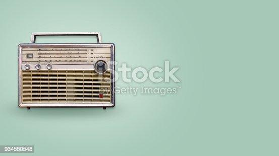 istock Vintage radio on color background 934550548