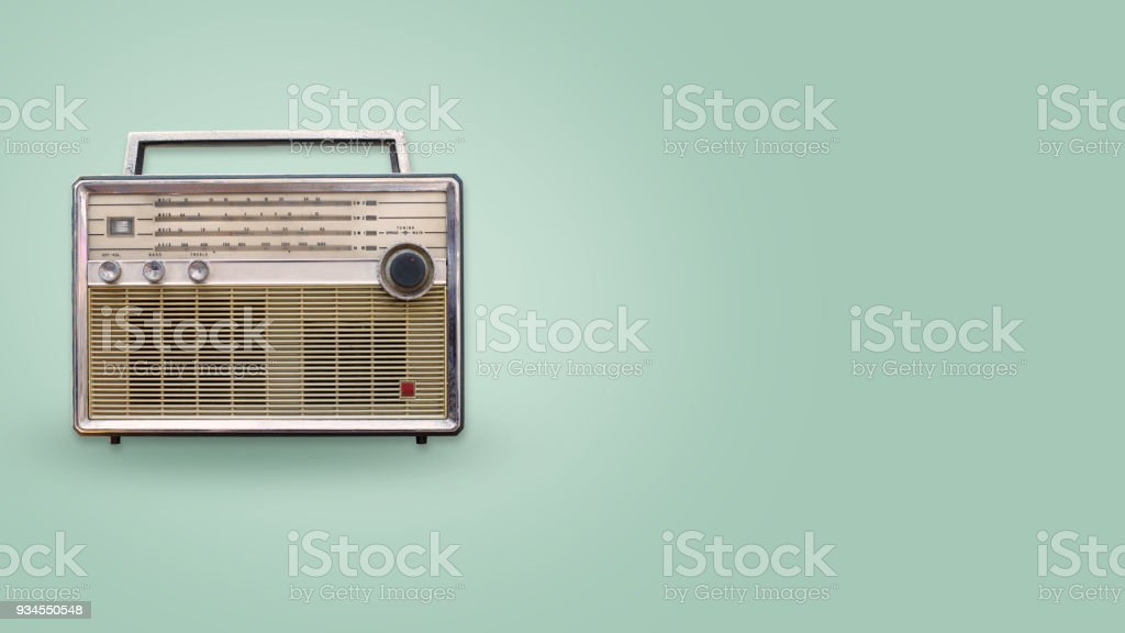 Vintage radio on color background stock photo