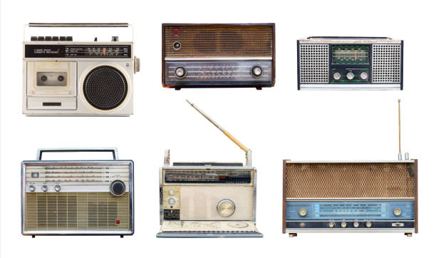 vintage radio Collection of vintage retro radio related - clipping path objects isolated on white background. wide receiver athlete stock pictures, royalty-free photos & images