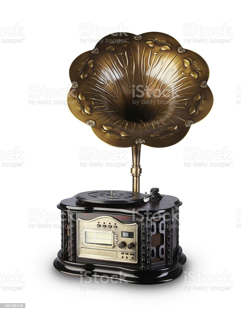Vintage radio with gramophone and CD player with clipping path stock photo
