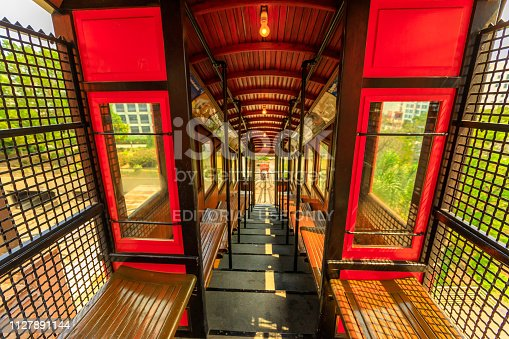 Los Angeles, California, United States - August 9, 2018: interior pov of vintage rail car on the Angels Flight, Hill Street, Bunker Hill of LA Downtown. Los Angeles Historic-Cultural Monument.
