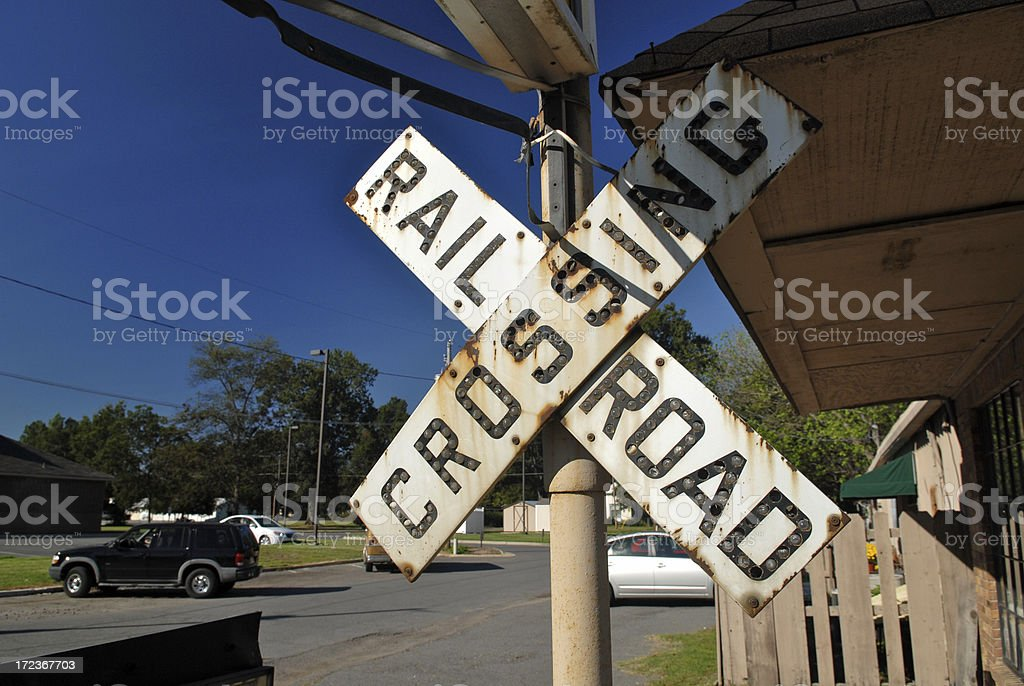 Vintage Railroad Crossing Sign Stock Photo - Download Image