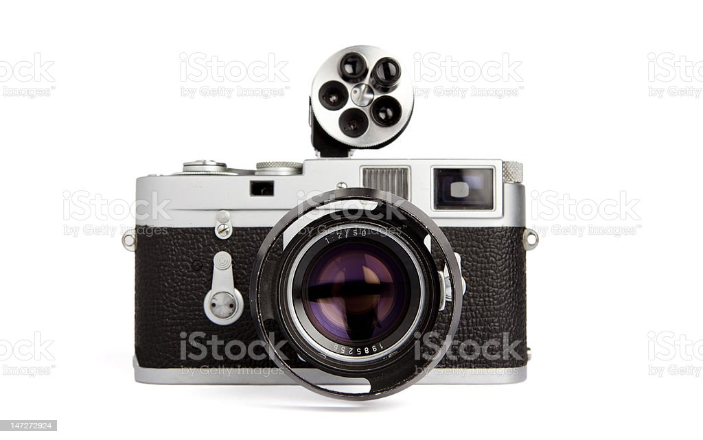 Vintage rangefinder camera with viewfinder royalty-free stock photo