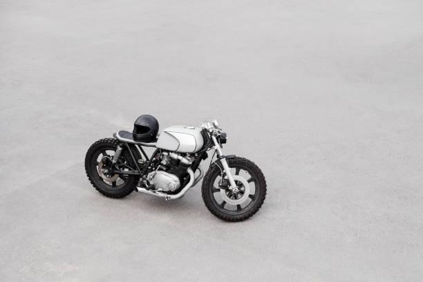 Vintage rebuilt motorcycle motorbike caferacer stock photo