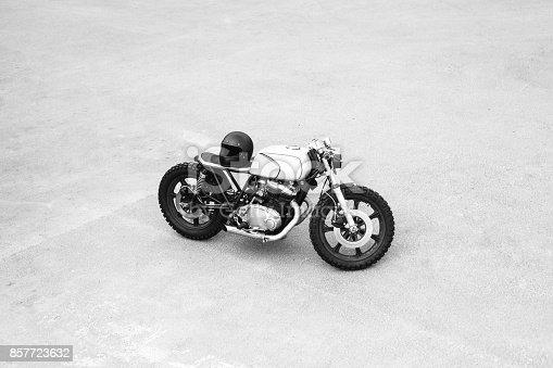 istock Vintage rebuilt motorcycle motorbike caferacer 857723632