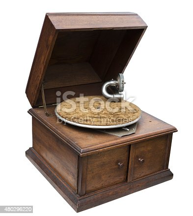 vintage record player isolated on white bachground