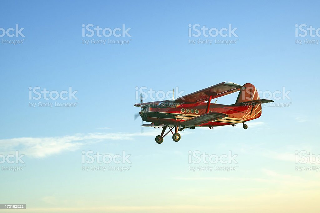 Vintage red airplane royalty-free stock photo