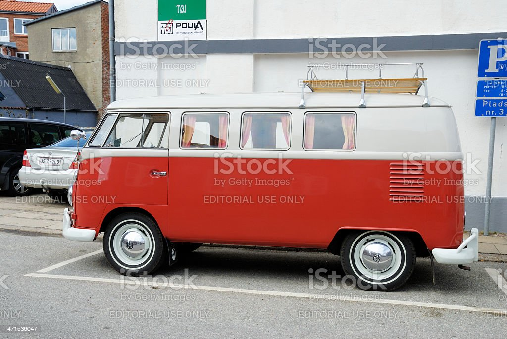 Vintage red and white Volkswagen Transporter stock photo