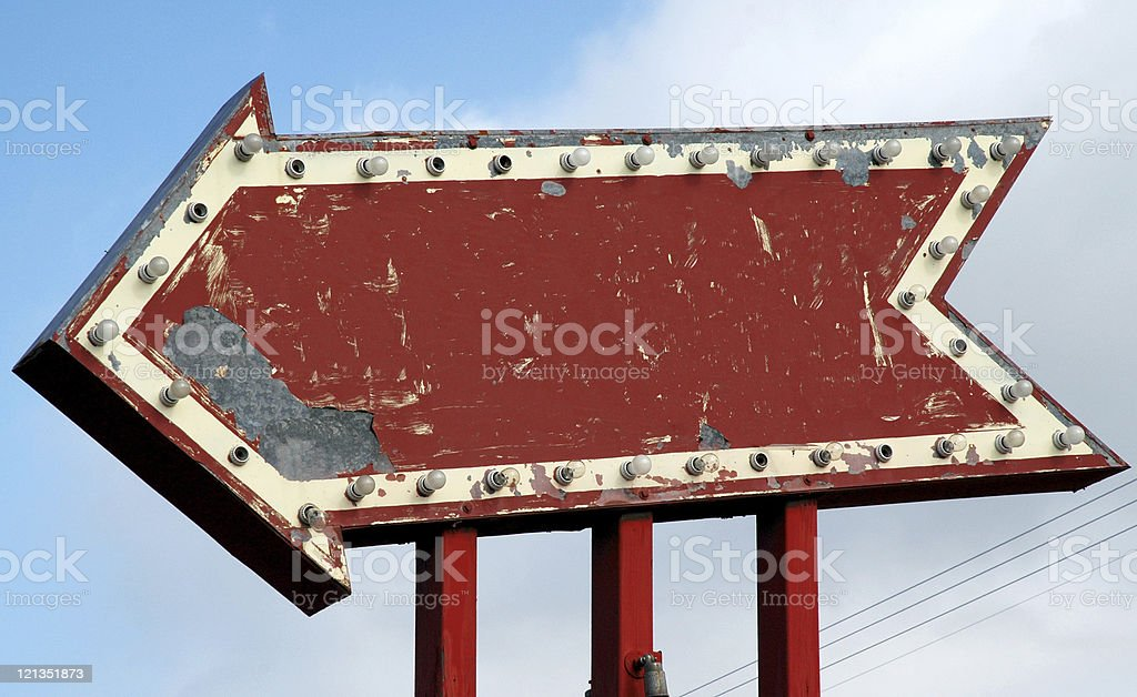 vintage red arrow sign with sky background stock photo more