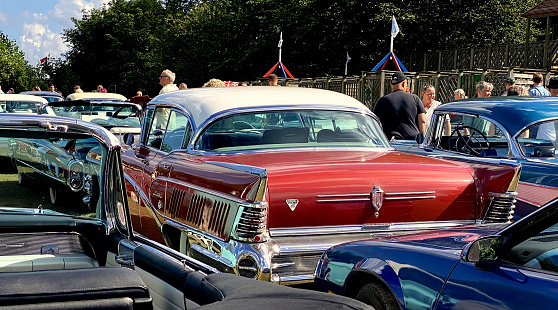 Close up photo of vintage American car parked in Bornholm island, Denmark, Scandinavia on August 28th., 2020.