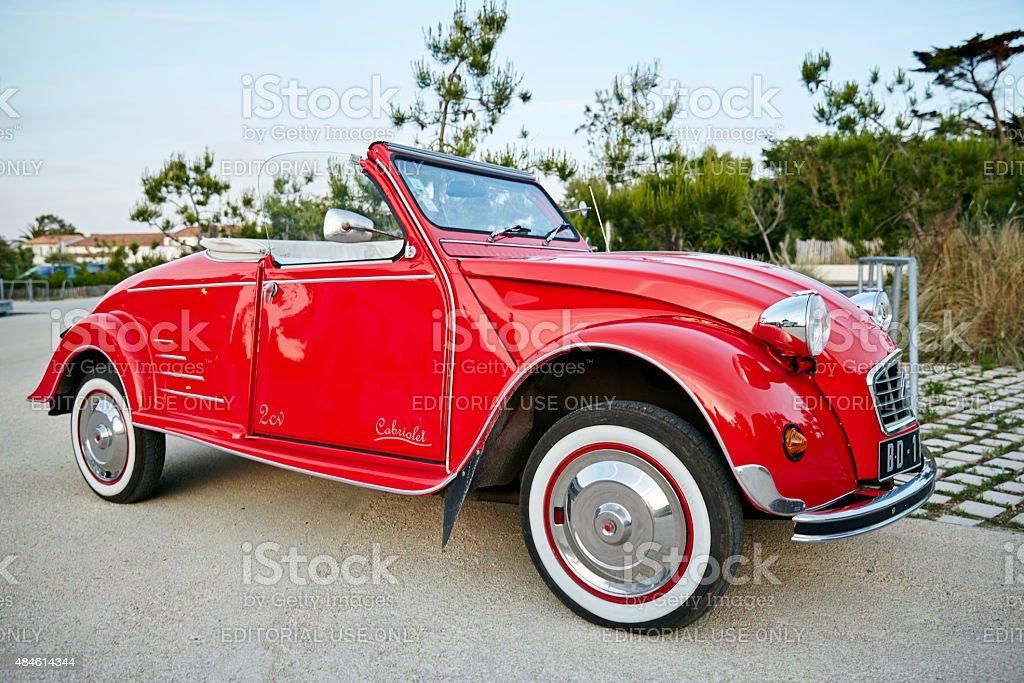 Vintage red Citroen 2CV convertible stock photo