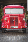 Vintage red Citroen HY van parked on the South Bank Queen's walk.