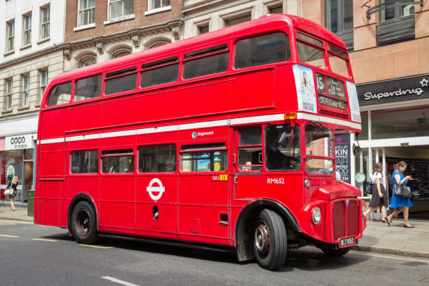 Vintage red double decker bus London UK stock photo