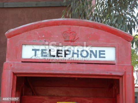 London Bridge Location Lake Havasu Arizona Red English Phone Booth.