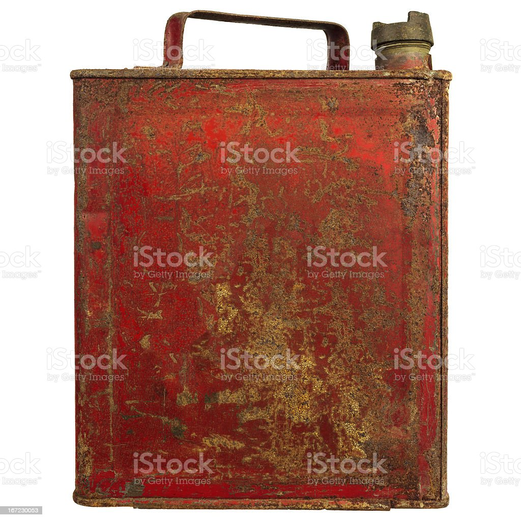 Vintage red fuel can isolated on white stock photo