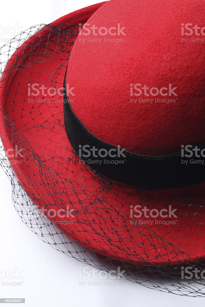 Vintage Red Hat With Veil stock photo