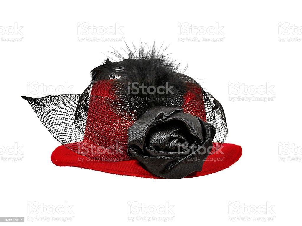 Vintage red  lady's hat with  black feathers stock photo