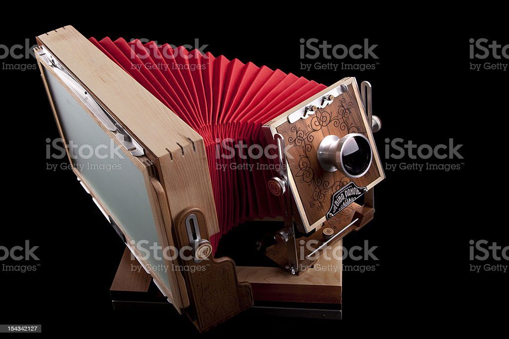 Vintage red large format camera stock photo