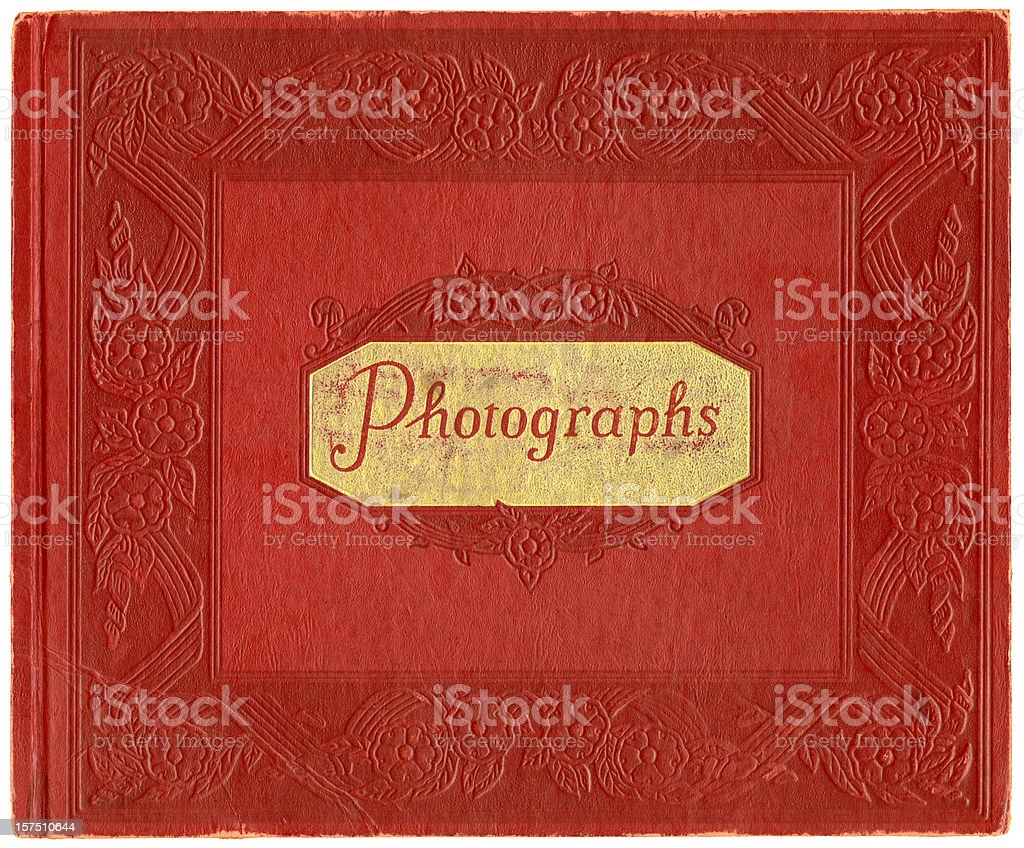 Vintage Red Leather Photo Album Cover stock photo