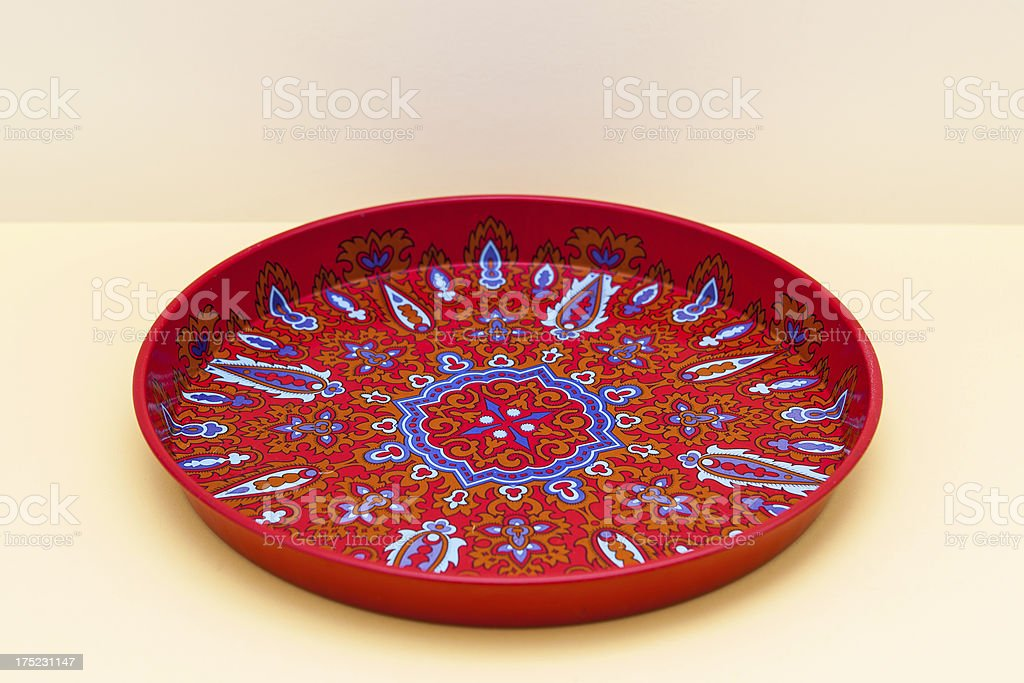 Vintage red metal tray from 1960s stock photo