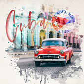 Vintage red oldtimer car driving through Old Havana Cuba