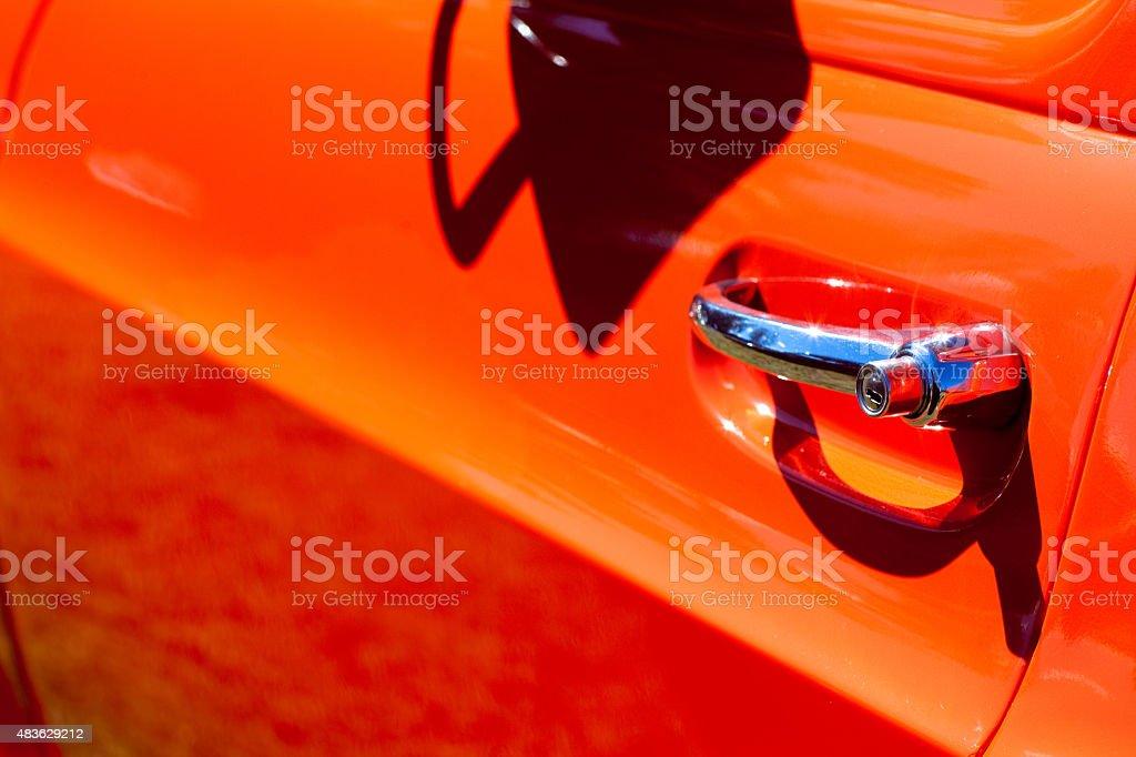 Vintage Red Caminhonete Chromed maçaneta de porta foto royalty-free