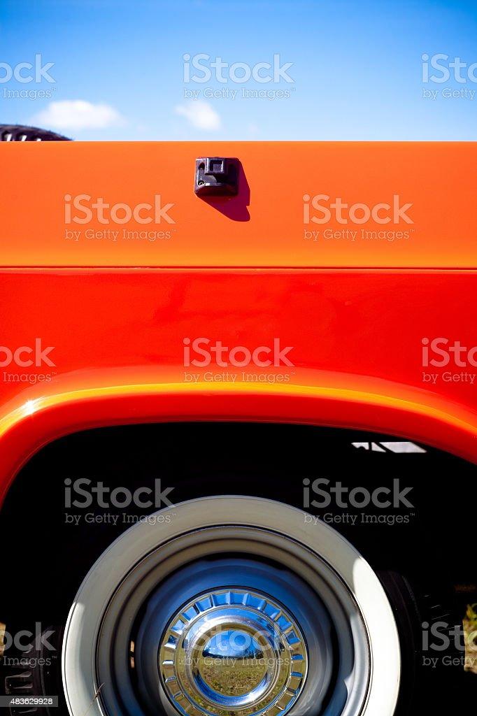 Vintage Red Pick-up CAMINHÃO lado Vista traseira de rodas - foto de acervo